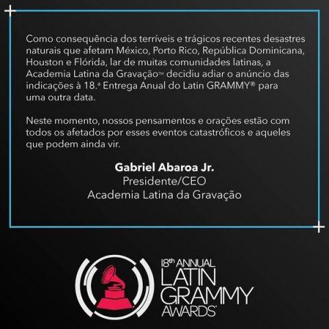 Grammy adia anúncio de indicados por conta de desastres naturais